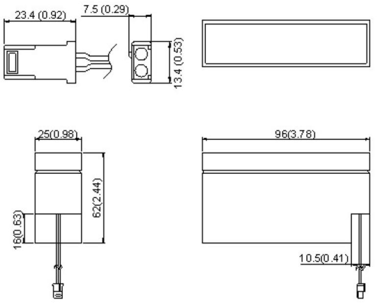 Wymiary akumulatora żelowego 0.8Ah 12V