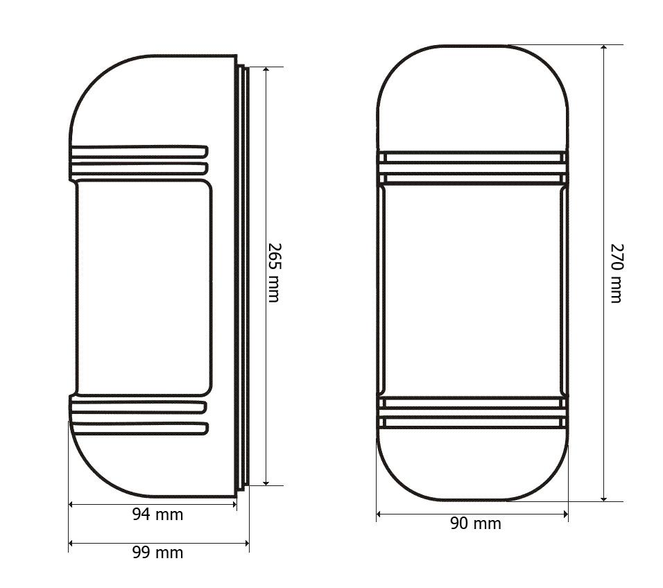 Wymiary bariery podczerwieni BS-BD3 200.