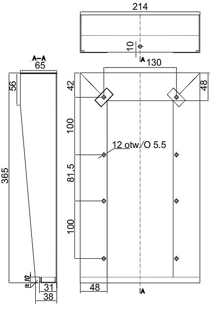Wymiary osłony dwusegmentowej DA-2V.