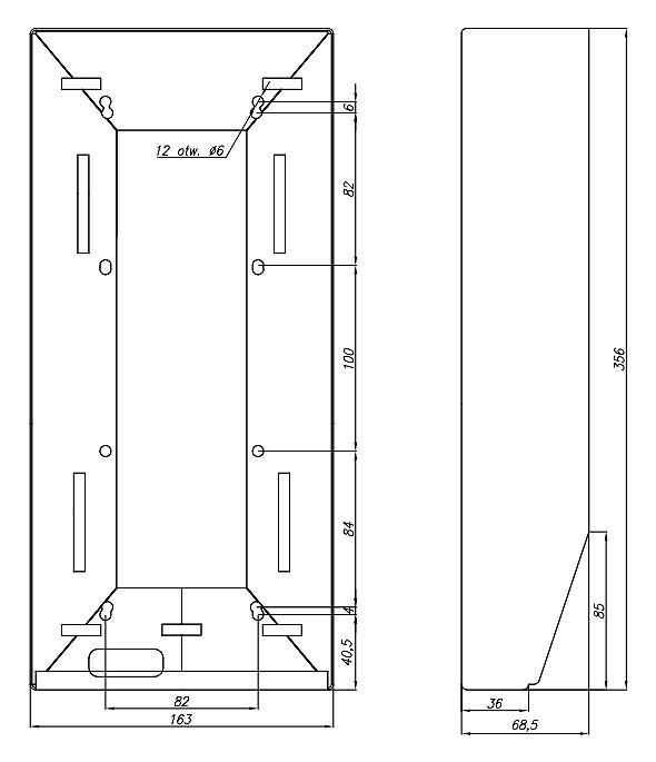 DAX-2-2V - Wymiary obudowy natynkowej.