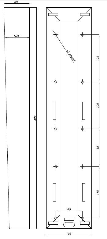 DAX-3-2V - Wymiary obudowy natynkowej.