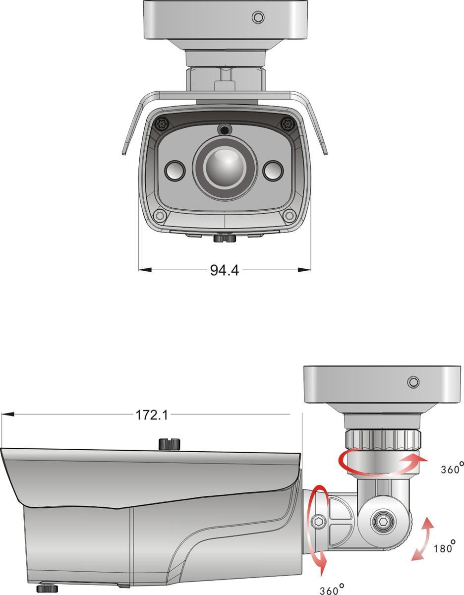 BCS-TQ7200IR3 - Wymiary kamery podane w mm.