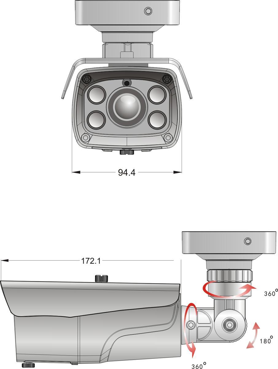 BCS-TQ8200IR3 - Wymiary kamery podane w mm.