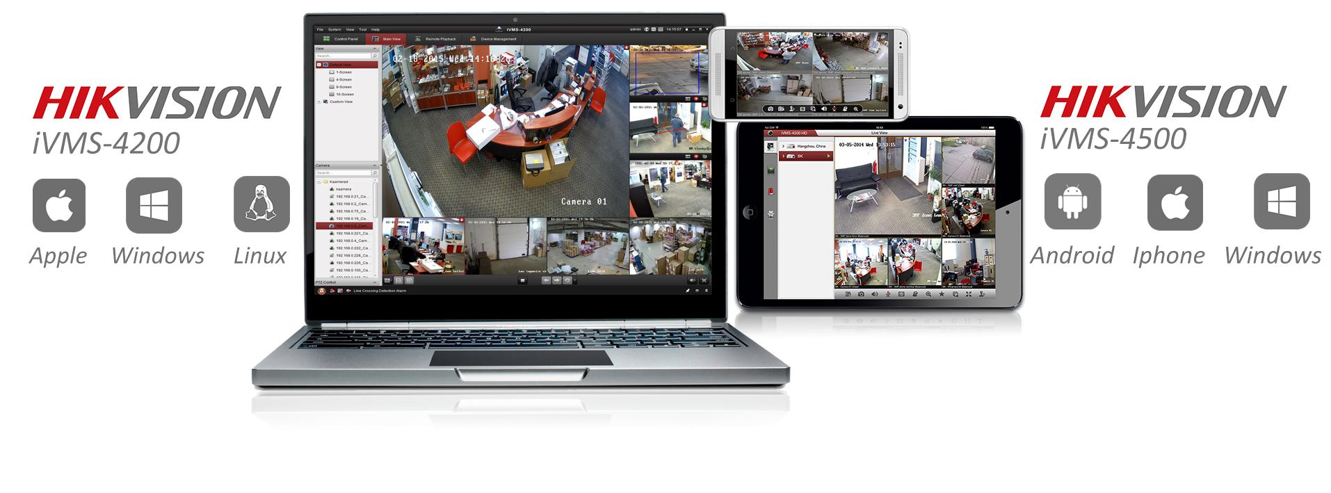 Bezpłatne oprogramowanie iVMS 4200, iVMS 4500 dostępne na różne systemy operacyjne.