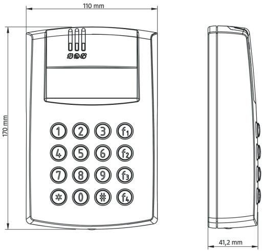 Wymiary wewnętrznego kontrolera dostępu PR602LCD-DT-I.