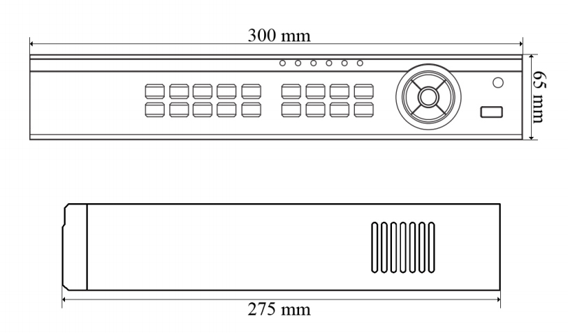 PX-HDR0821H - wymiary rejestratora.