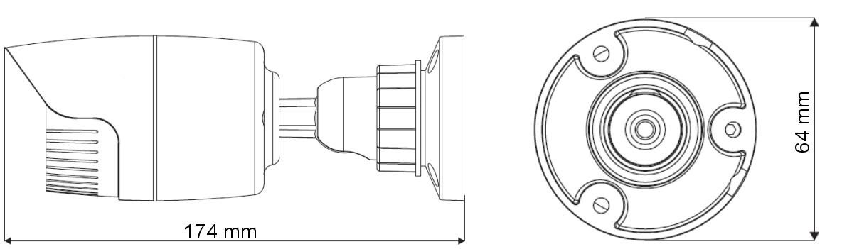 PX-TI2030-P - Wymiary kamery podane w mm.