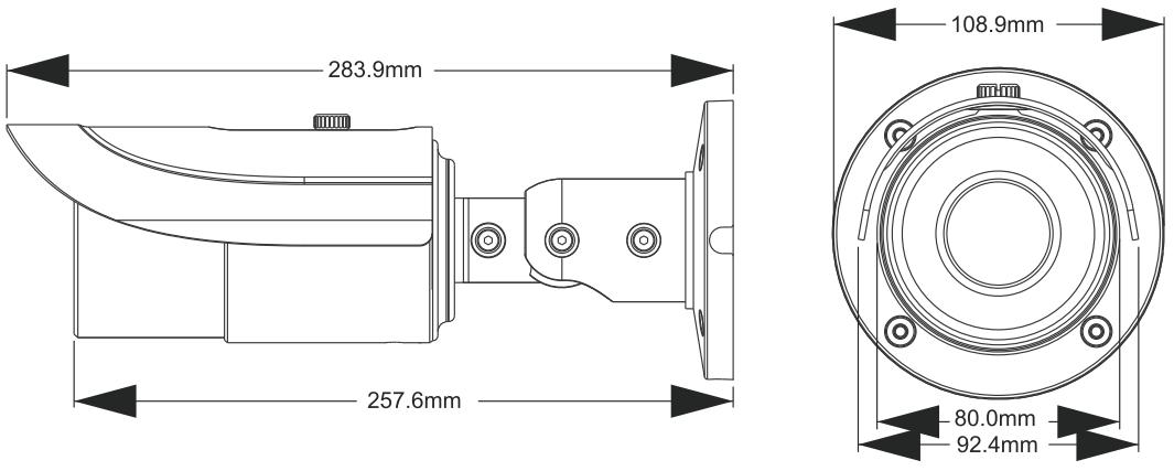 PX-TVIP2036AS-P - Wymiary kamery podane w mm.