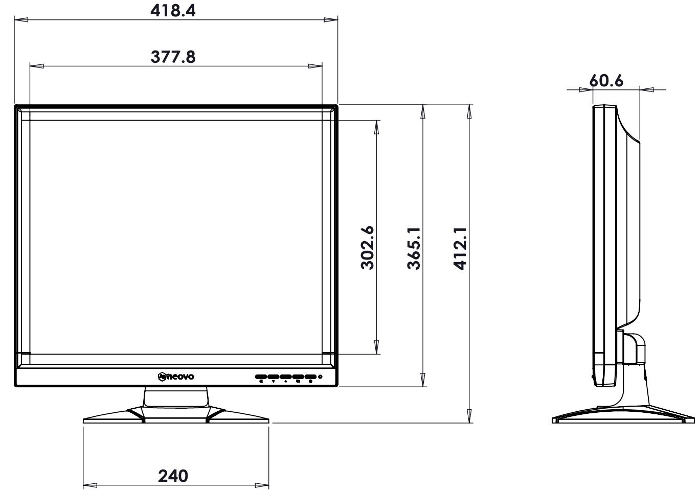 Wymiary monitora SC-19P podane w milimetrach.