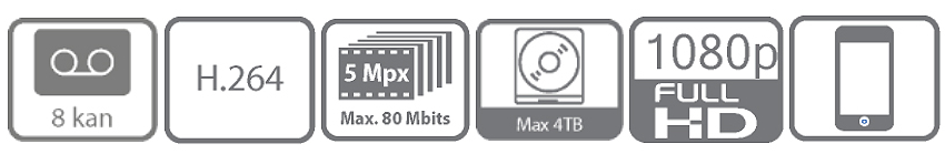 Wybrane funkcje i cechy 8-kanałowego rejestratora Hikvision.