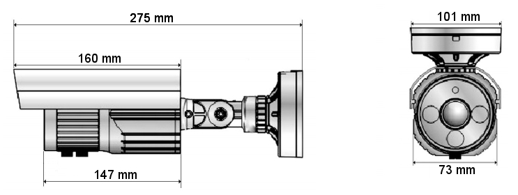 Wymiary kamery AH1203TV IPOX