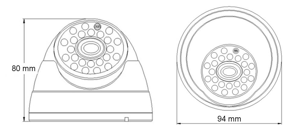Wymiary kamery AH1224D IPOX