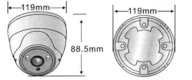 BCS-DMQ4200IR3 - Wymiary kamery.