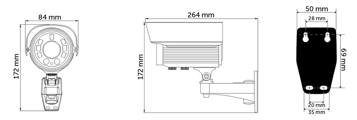 AH2242TV - Wymiary kamery.