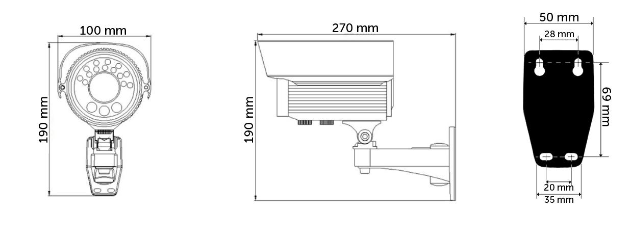 AH2272TV - Wymiary kamery.