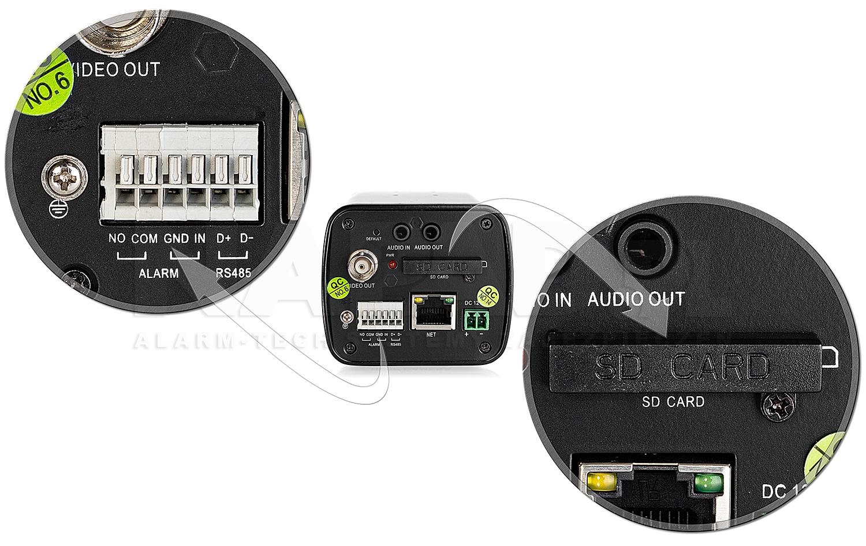 Wejścia alarmowe oraz slot karty pamięci SD w kamerze HD2000B.