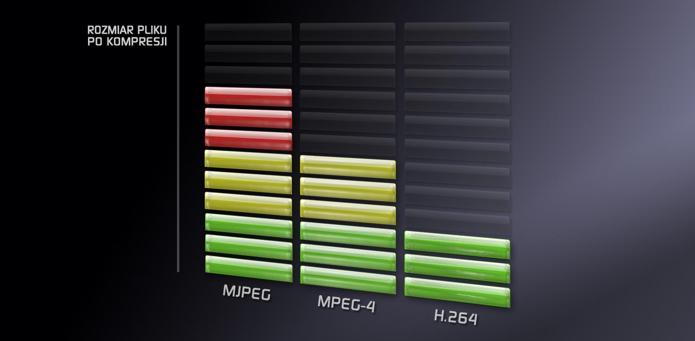 Porównanie rozmiaru pliku skompresowanego w H.264, MPEG-4 i MJPEG.