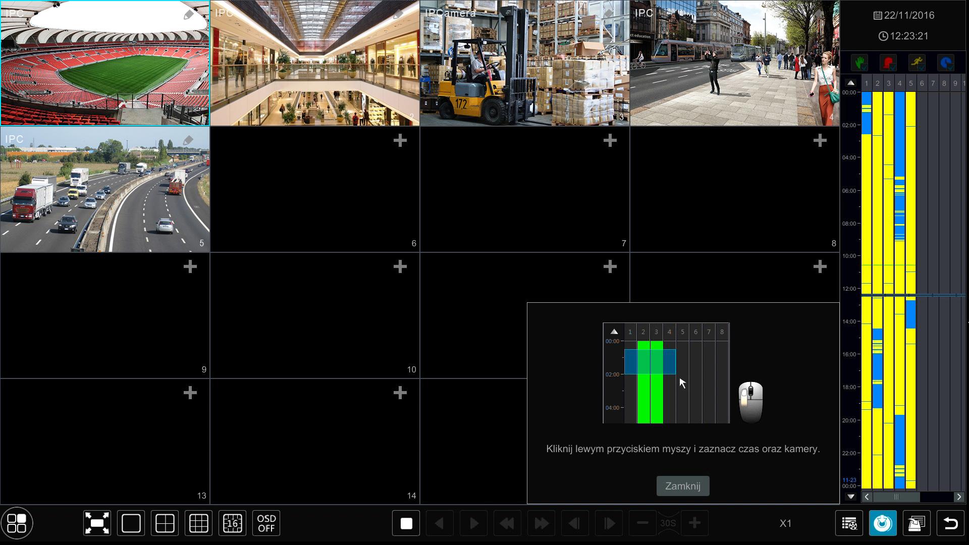 Interaktywna oś czasu w N9000.