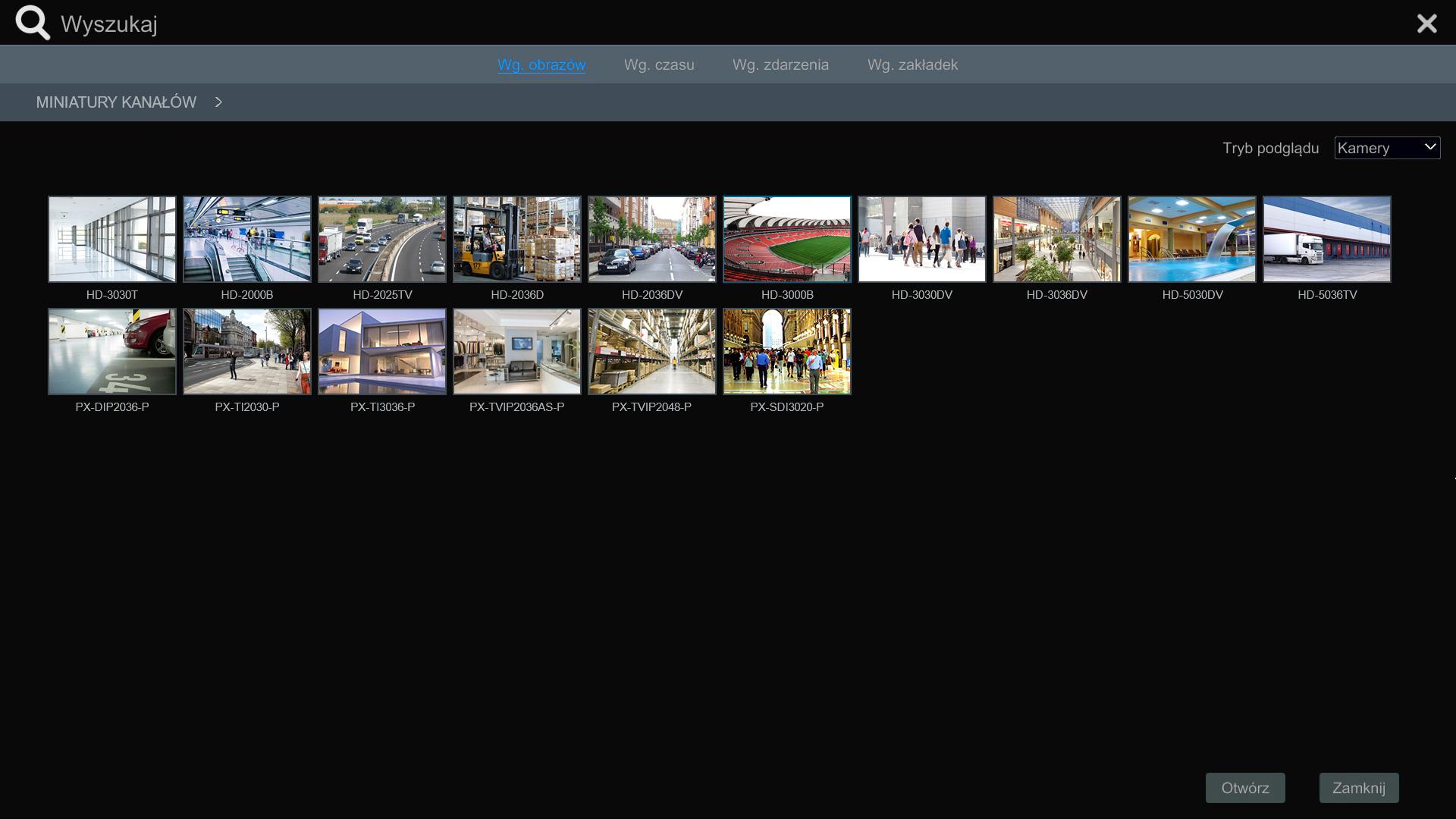 Wyszukiwanie kamer w N9000.