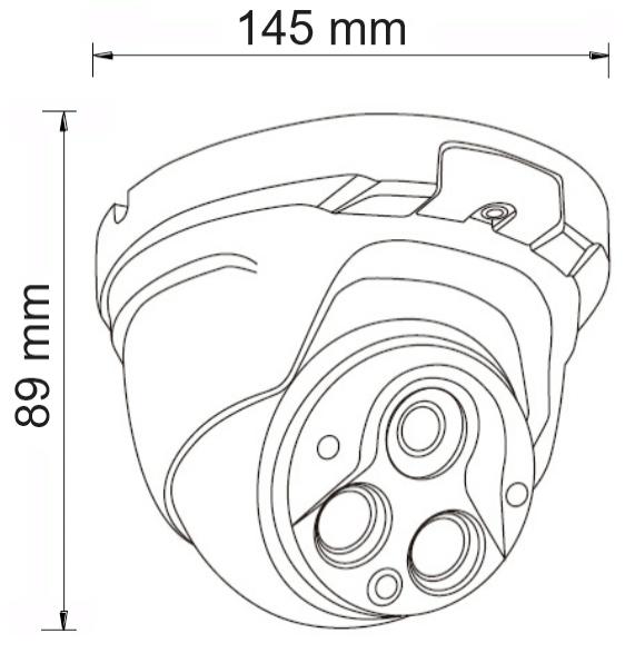 PX-DVH2002 - Wymiary kamery podane w mm.