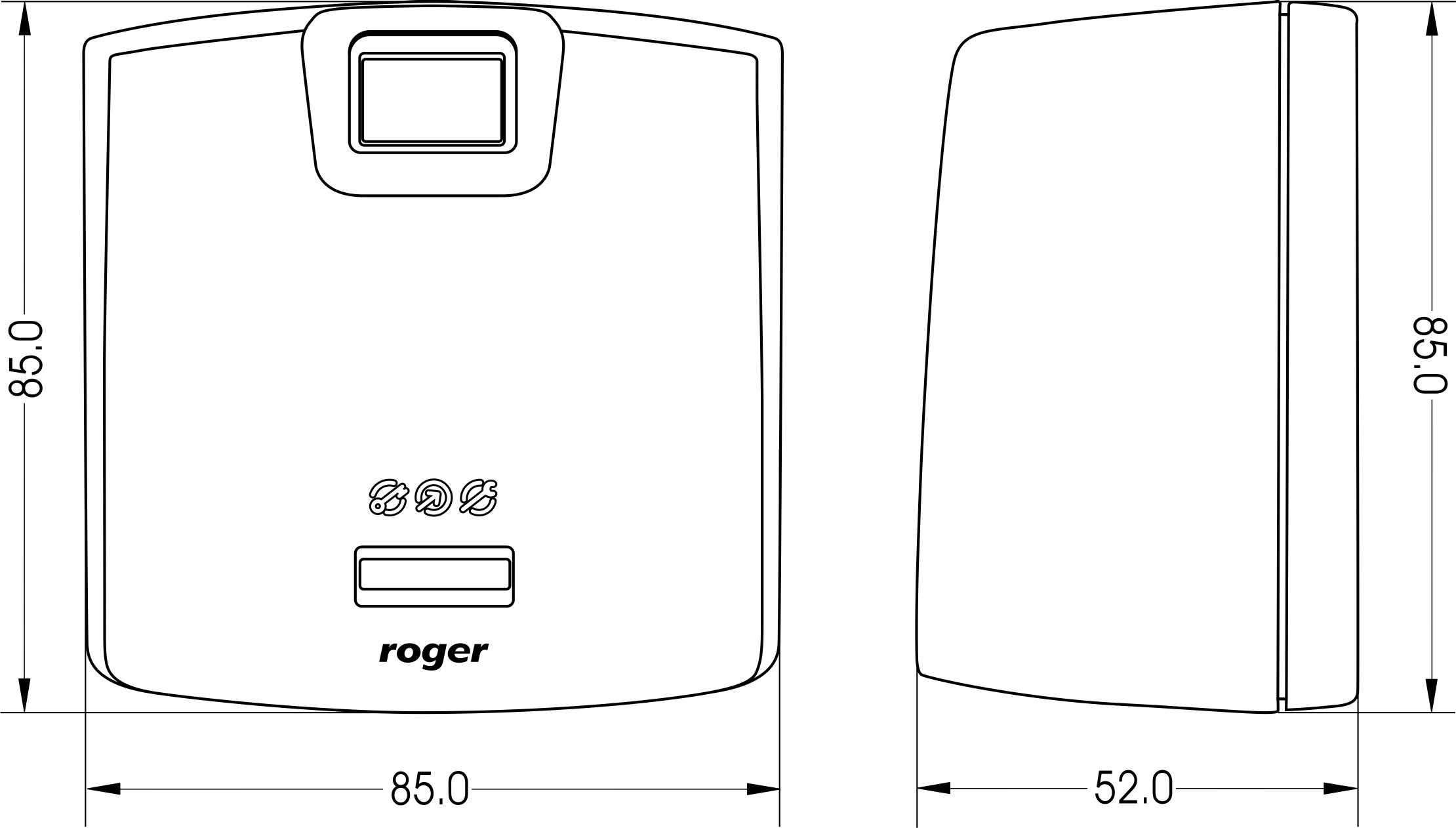 Wymiary obudowy czytnika linii papilarnych RFT1000 firmy ROGER