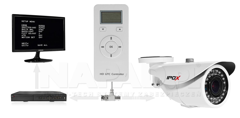 Schemat podłączenia kontrolera UTC-AHD do kamery z wbudowanym menu OSD