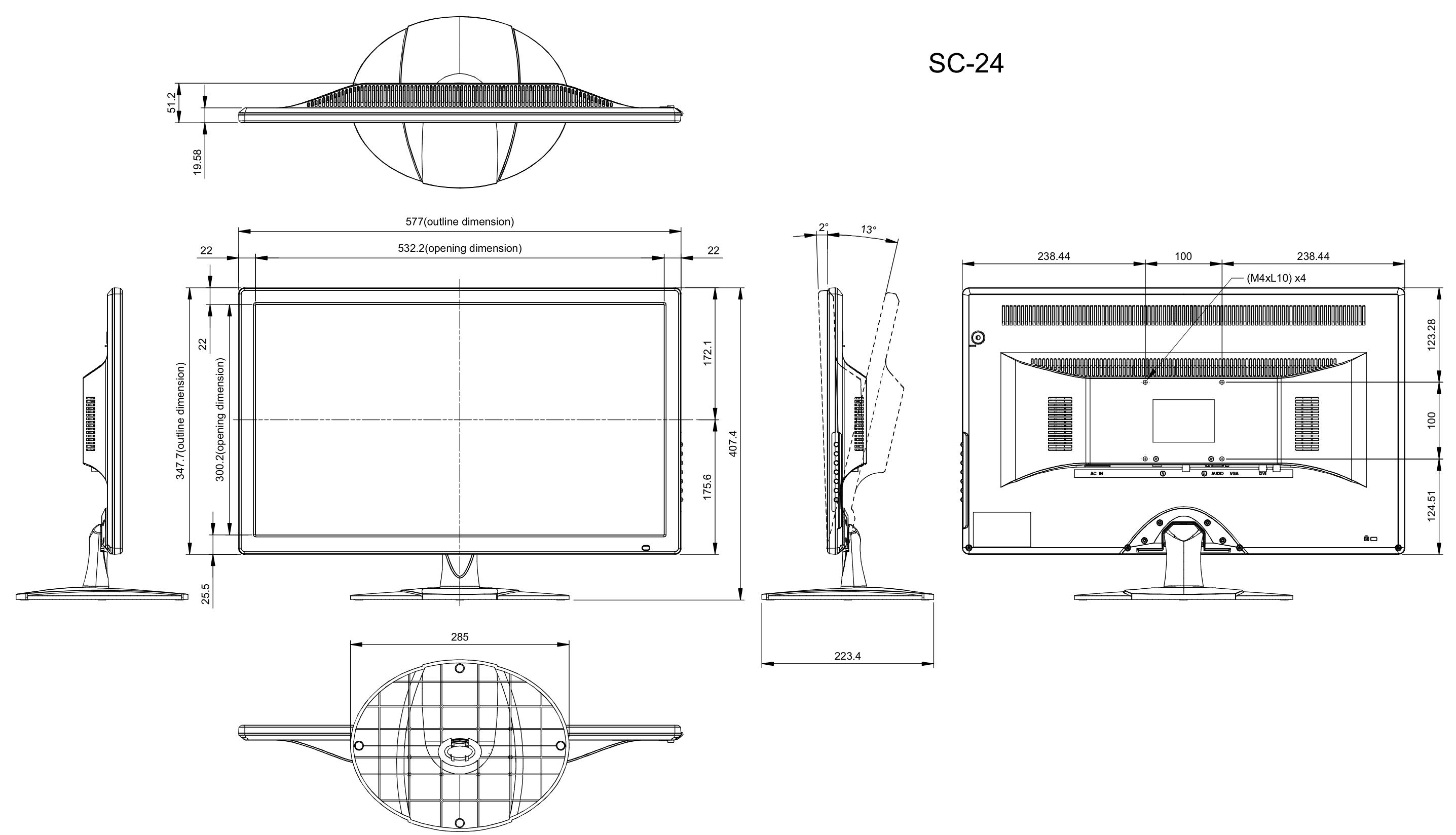 SC-24 - Wymiary monitora podane w mm.