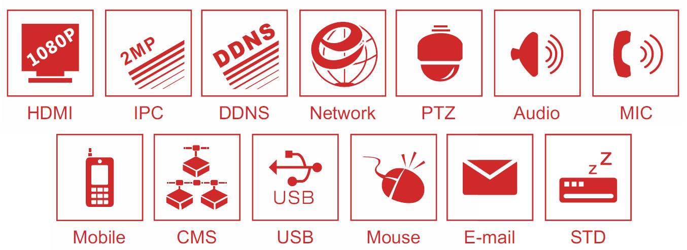 Ikonki specyfikacji rejestratora sieciowego IPOX NVR.
