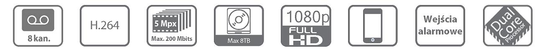 Ikonki specyfikacji rejestratora sieciowego BCS NVR08025MEP.