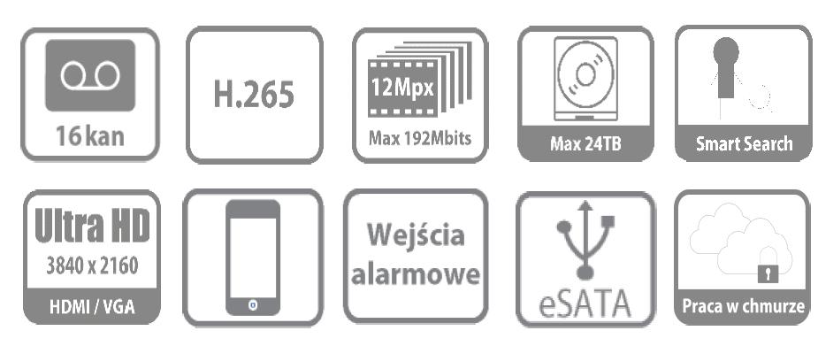 Ikonki specyfikacji rejestratora sieciowego NVR1604-4K.