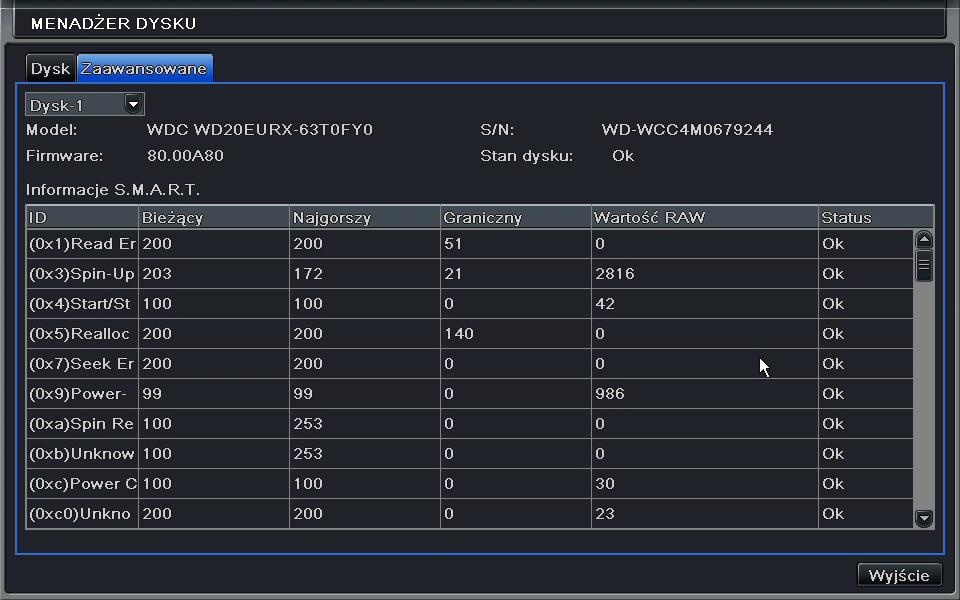 System inteligentnego zarządzania dyskiem twardym w rejestratorze PX-AHD3904EA.