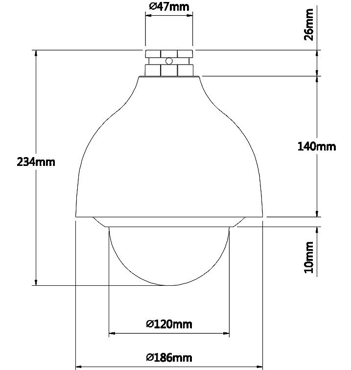 Wymiary kamery BCS SD IP 1212A.