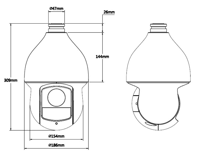 Wymiary kamery BCS SD IP 4212 A.