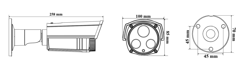 AH2228T - Wymiary kamery.