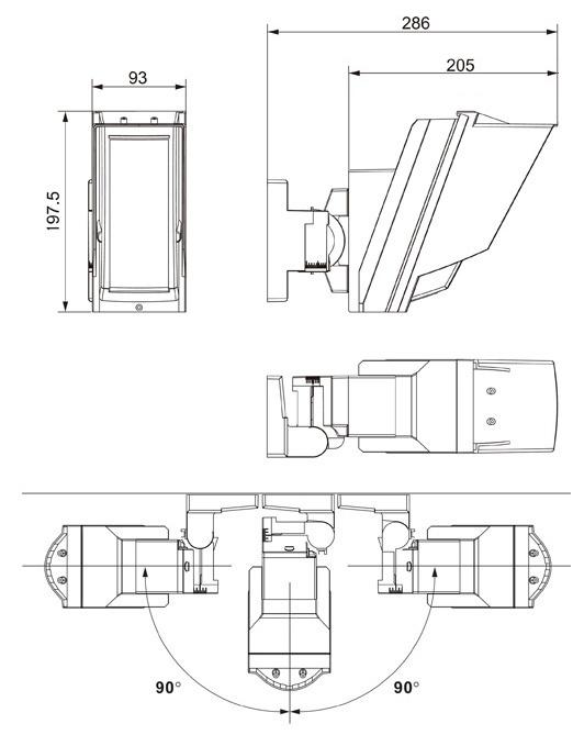 Wymiary czujki zewnętrznej HX-80NRAM