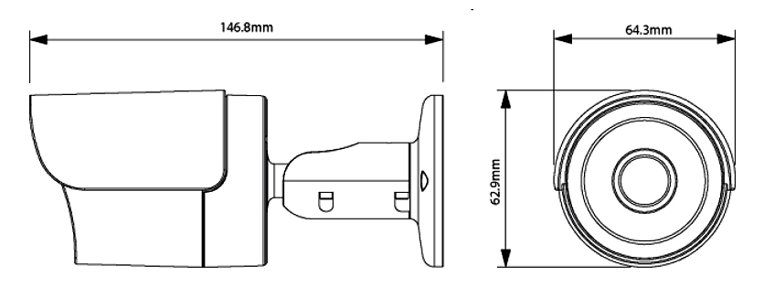 Wymiary kamery tubowej IP TIP3130IR.