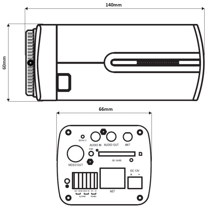 PX-DI2028-E - Wymiary kamery podane w mm.