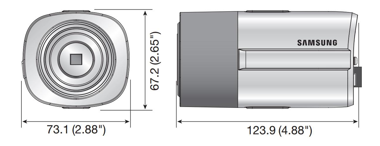 Wymiary kamery podane w milimetrach i calach.