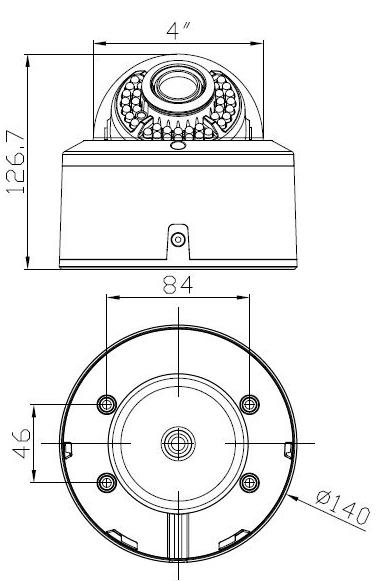 PX-DWVH2030 - Wymiary kamery podane w mm.
