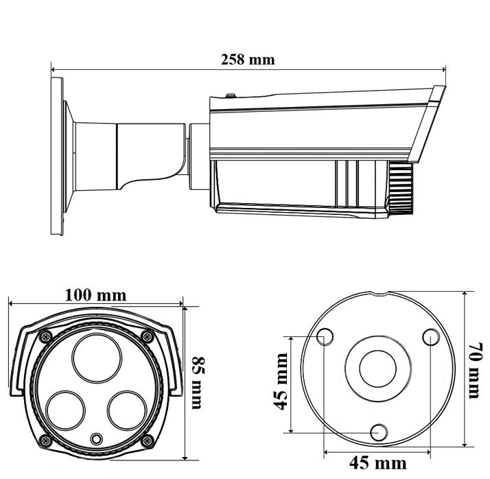 PX-TH2028 - Wymiary kamery podane w mm.