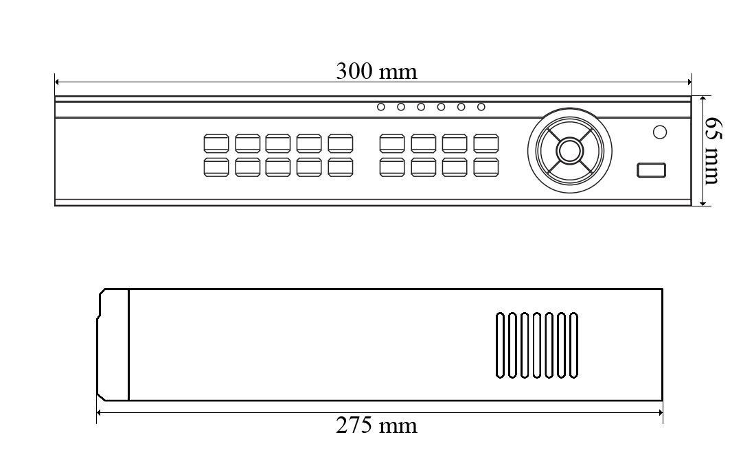 Wymiary rejestratora sieciowego IPOX PX-NVR3004EA-P4.