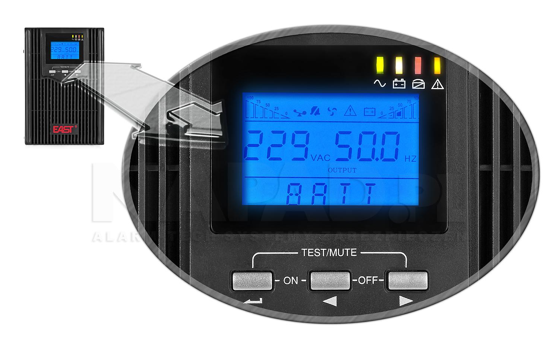 Zasilacz AT-UPS1000-S-LCD zbliżenie na panel przedni