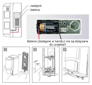Montaż baterii w czujce VXI R