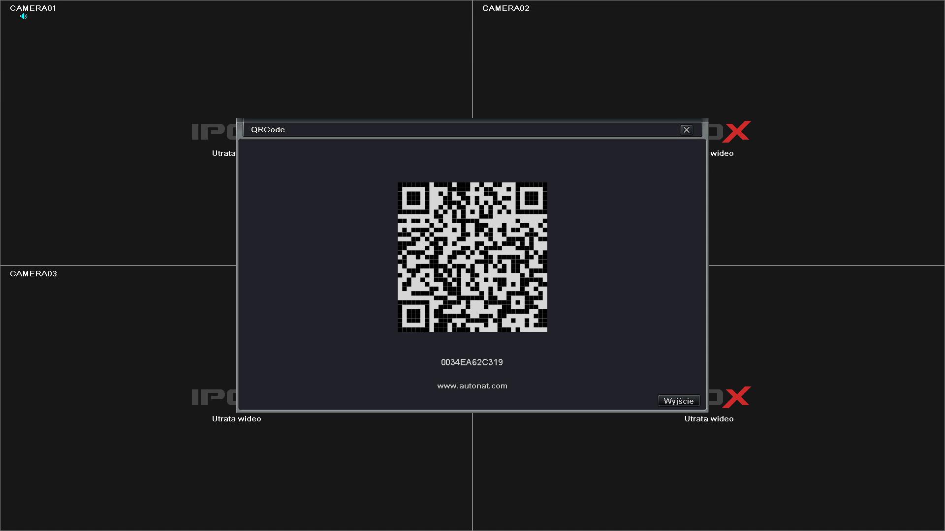 Bezpośrednie połączenie z rejestratorem przez QR code.