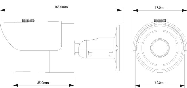 Wymiary kamer megapikselowej BCS-TIP3130AIR.