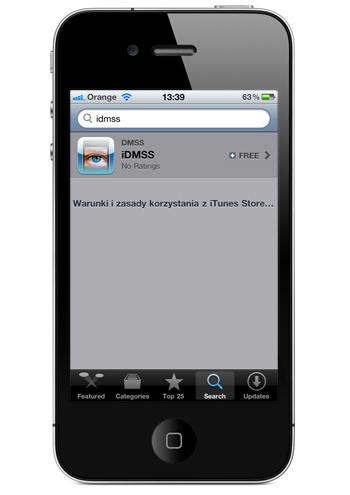 pobieranie aplikacji iDMSS z iTunes