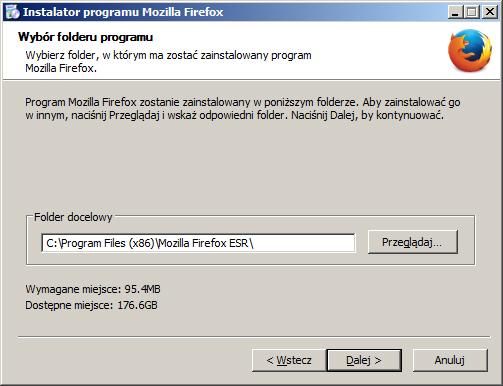 Mozilla Firefox Extended Support Release - Instalacja dla Monitoringu