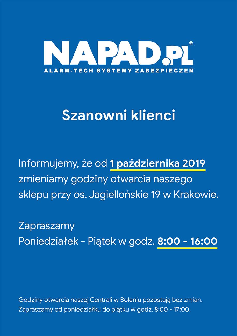 Nowe godziny otwarcia NAPAD.PL - Oddział Jagiellońskie