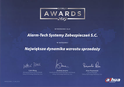 Największa dynamika wzrostu sprzedaży - Nagroda Dahua dla Alarm-Tech Systemy Zabezpieczeń