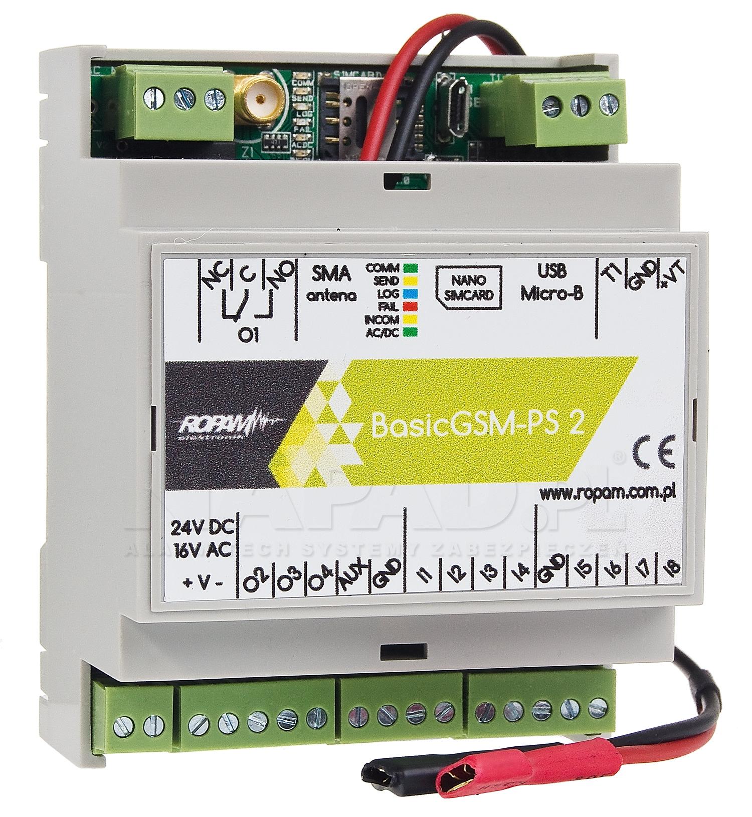 Moduł powiadomienia i sterowania GSM BasicGSM-PS-D4M 2